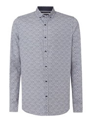Duck And Cover Walmsley Print Slim Fit Button Down Shirt Dark Blue