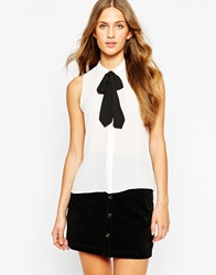 Mango Sleeveless Blouse With Neck Tie White