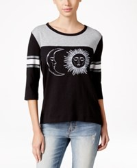 Ntd Juniors' Three Quarter Sleeve Graphic T Shirt Black Grey Miz