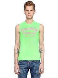 Dsquared Logo Printed Cotton Sleeveless T Shirt