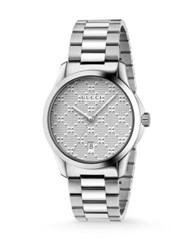Gucci G Timeless Stainless Steel Bracelet Watch Silver