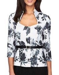 Alex Evenings Floral Stand Collar Top White Black