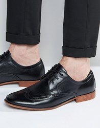 Asos Brogue Shoes In Black With Natural Sole Black