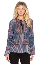Clover Canyon Patchwork Paisley Top Blue