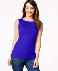 Karen Scott Sleeveless Boat Neck Tank Top Only At Macy's Deep Pacific