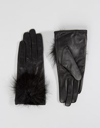 Aldo Leather Gloves With Faux Fur Pom Black
