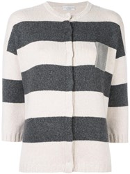 Brunello Cucinelli Striped Cardigan Nude Neutrals
