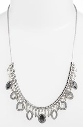 Women's Kent And King Jeweled Frontal Necklace Grey Silver