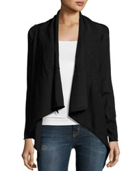 Stella Carakasi Textured Knit Open Front Cardigan Black
