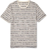 Outerknown Bahia Striped Organic Cotton T Shirt Blue