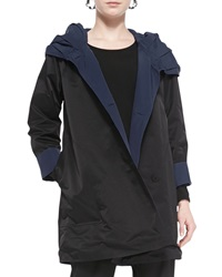 Eileen Fisher Reversible Hooded Rain Coat Black Midnight Petite