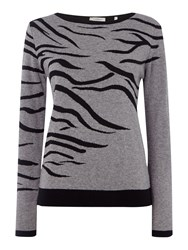 Marella Animal Print Knitted Sweater Grey