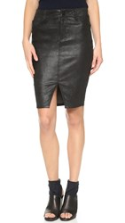 Joe's Jeans Slit Leather Pencil Skirt Black