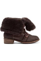 Australia Luxe Collective Eastsider Shearling Lined Croc Effect Pony Hair And Suede Boots Dark Brown
