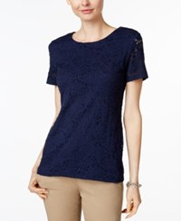 Charter Club Short Sleeve Solid Allover Lace Top Only At Macy's Intrepid Blue