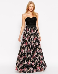 Rare Bandeau Maxi Dress With Floral Skirt Multi