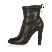 River Island Womens Black Tie Back Heeled Ankle Boots