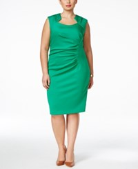 Calvin Klein Plus Size Ruched Sheath Dress Green