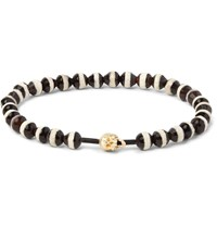Luis Morais Gold Skull And Glass Bead Bracelet Black