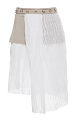 Carven Shiny Waves Lace Draped Skirt White Brown