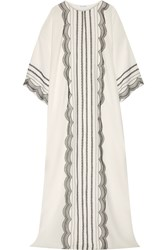Oscar De La Renta Lace Trimmed Stretch Silk Georgette Kaftan White