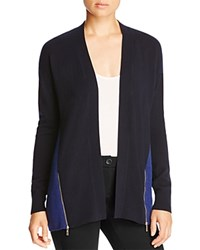 Magaschoni Color Block Zip Cashmere Cardigan Midnight Rhine Mouline