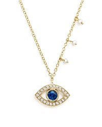 Meira T 14K Yellow Gold Blue Sapphire And Diamond Evil Eye Necklace 16 Blue Gold