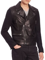 Kent And Curwen Woven Sleeves Leather Biker Jacket Black
