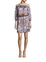Kas Paisley Printed Off The Shoulder Dress Multicolor