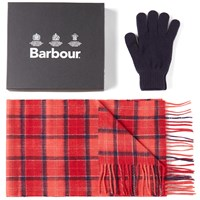 Barbour Scarf And Glove Gift Box Red