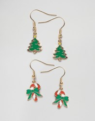 Asos Christmas Pack Of 2 Jolly Earrings Multi