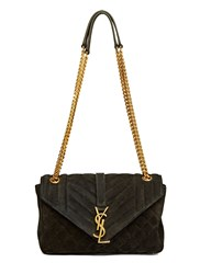 Saint Laurent Ysl Monogrammed Suede Quilted Bag Black