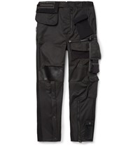 Balenciaga Tapered Leather Trimmed Satin Cargo Trousers Black