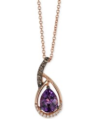Le Vian Chocolatier Amethyst 1 Ct. T.W. And Diamond 1 10 Ct. T.W. Pendant Necklace In 14K Rose Gold