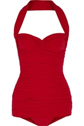Norma Kamali Bill Mio Ruched Halterneck Swimsuit Red