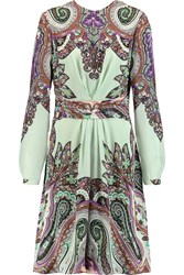 Etro Gathered Paisley Print Silk Dress Green