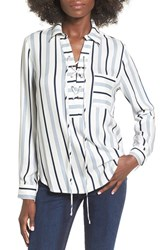 Wayf Women's 'Dean' Stripe Lace Up Popover Top Ivory Navy Stripe