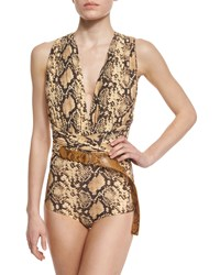 Michael Kors Python Print Belted One Piece Swimsuit Butter
