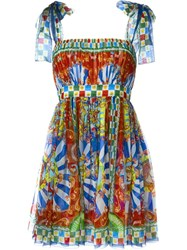 Dolce And Gabbana Carretto Siciliano Print Sundress Multicolour