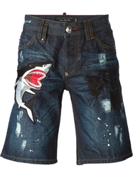 Philipp Plein 'Miami Cut Danger' Denim Shorts Blue