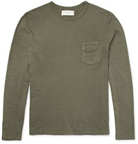 Officine Generale Slub Cotton Jersey T Shirt Army Green