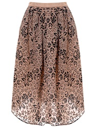 True Decadence Embroidered Midi Skirt Nude Black