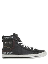 Diesel Spiked And Graffiti Leather Sneakers