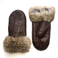 Lindo F Sheepskin Mittens Chocolate Brown