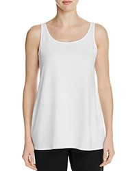 Eileen Fisher Long Scoop Neck Tank White