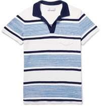 Orlebar Brown Roland Striped Cotton Terry Polo Shirt Blue
