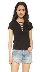 Pam And Gela Lace Up Tee Black