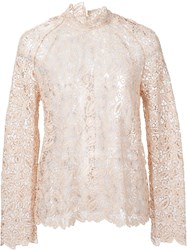 Self Portrait Longsleeved Lace Top Nude And Neutrals