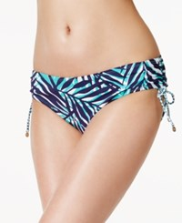Anne Cole Fronds Printed Side Tie Hipster Bikini Bottoms Women's Swimsuit Blue