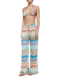 Missoni Mare Wave And Striped Pattern Pull On Pants Blue